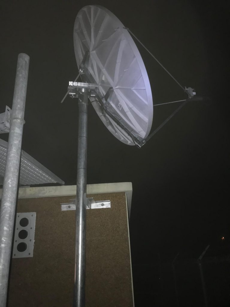 Commercial Satellite System Installation: 2.4m VSAT System on tall pole mount with HD bracket installed in Mississippi for national radio network