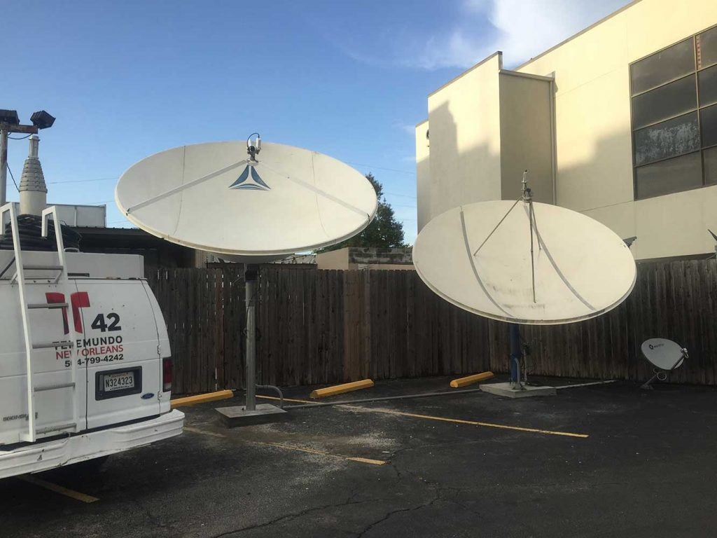 Commercial Satellite Dish Installation: 3.8m Miralite and 3.8m Contech for Telemundo New Orleans