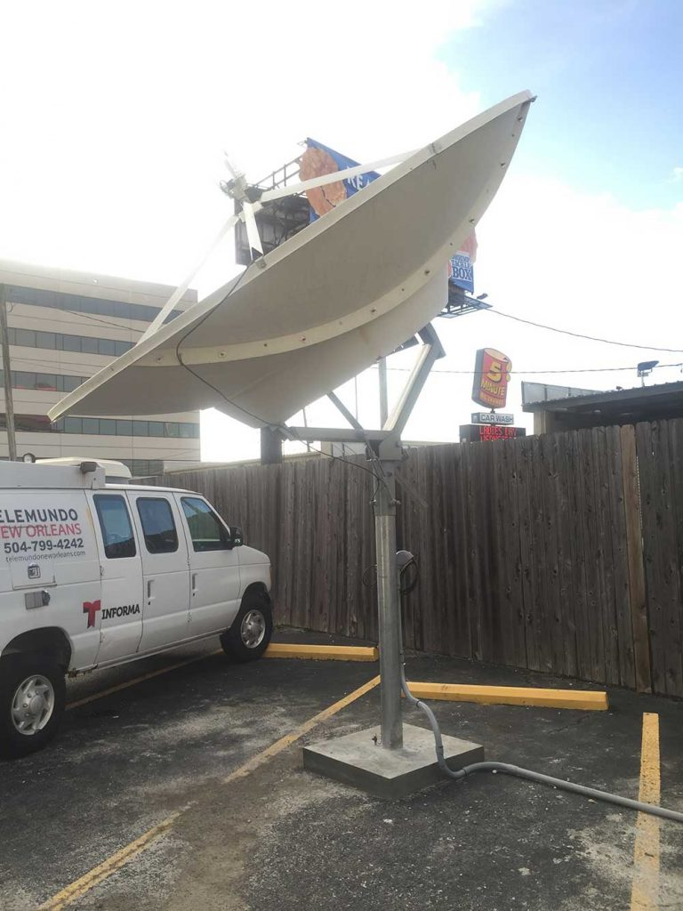 Commercial Satellite Dish Installation: 3.8m Miralite dish for Telemundo New Orleans