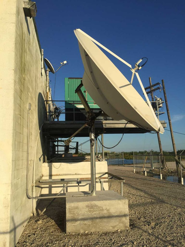 Commercial Satellite Dish Installation: 3.8m miralite dish for WLAE at transmitter site (2016)