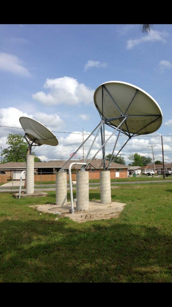 Commercial Satellite System Installation: 4.5m Andrew dish and 3.8m Miralite at ABC New Orleans Transmitter site after Katrina.