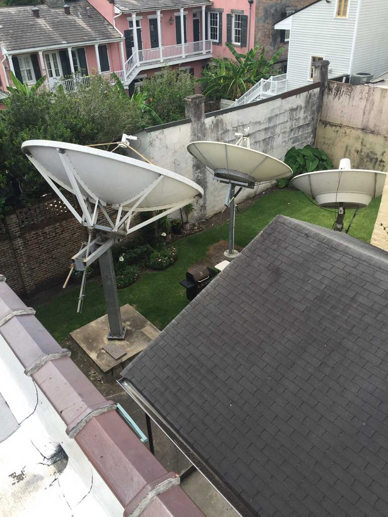 Commercial Satellite System Installation: Dish farm with 4.5m Andrews and several 3.8m DH Antennas for CBS New Orleans