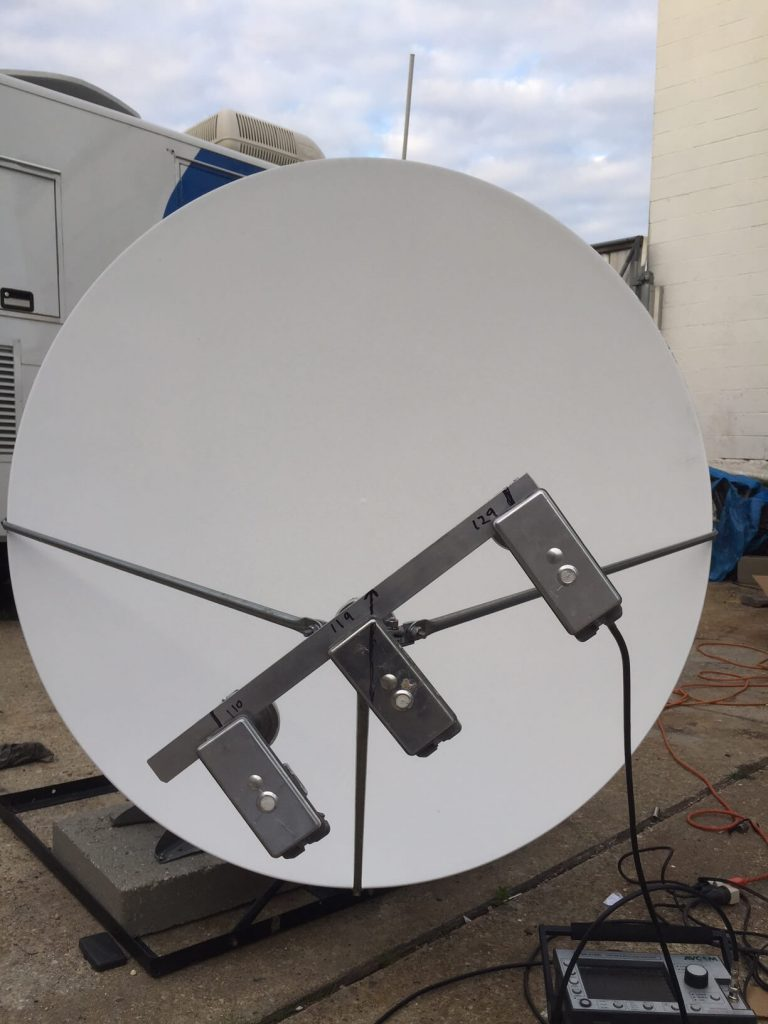 Commercial Satellite System Installation: Multi-beam Feed assembly on 1.2m Prodelin Dish designed by SATCTR at MDU Property