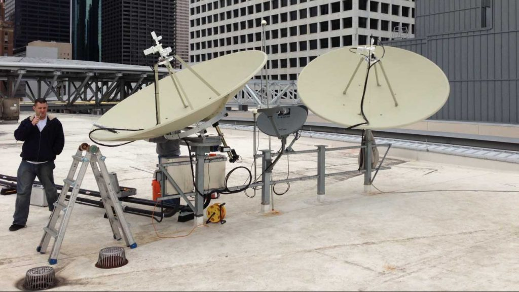 Commercial Satellite System Installation: Two 2.8m DH Antenna Sat Systems for Comcast Houston