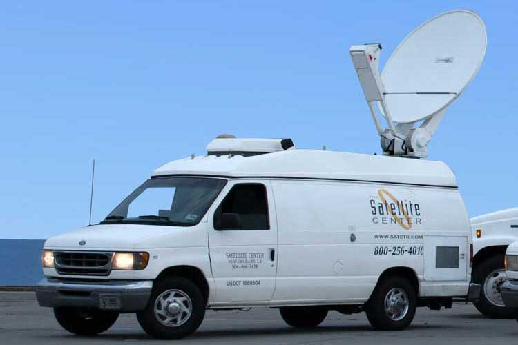 KU band satellite uplink van - exterior